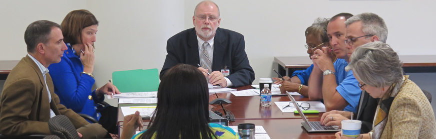 The CMS Policy Committee meeting on Oct. 15. Attending were board members Thelma Byers-Bailey, Eric Davis, Tom Tate, Ruby Jones and Tim Morgan. Participating by phone were Rhonda Lennon and Ericka Ellis-Stewart.